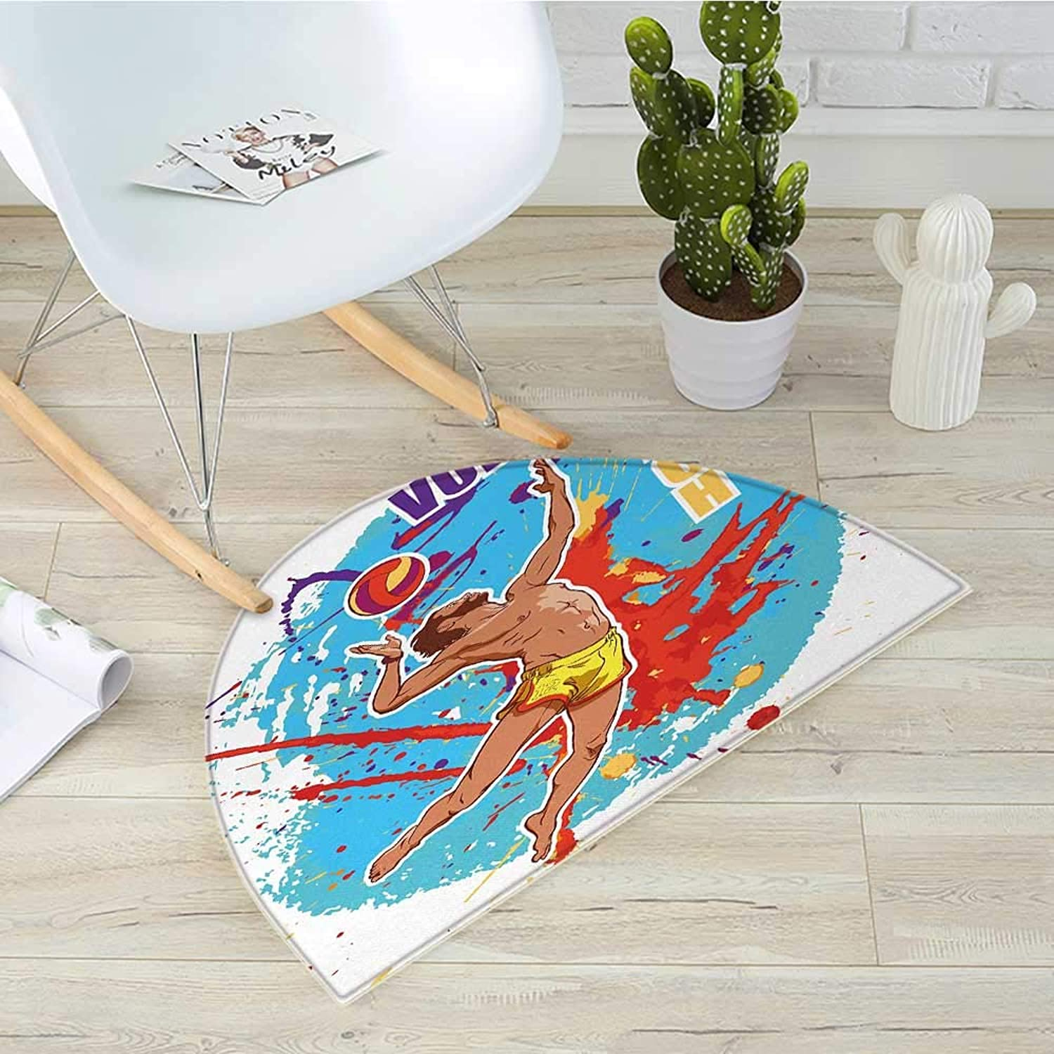 Beach Semicircle Doormat Vector Illustration of a Man Serving an Overhead Ball in Beach Volley Print Halfmoon doormats H 35.4  xD 53.1  Sky bluee and Red