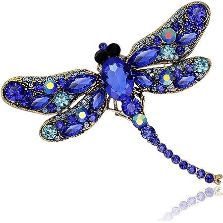 Gankmachine Rhinestone de la libélula Broche Animal de la Broche Mujeres se Visten de la Bufanda Broche Azul