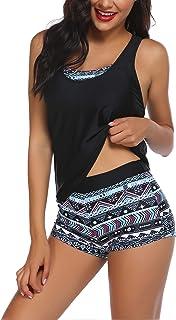 طقم ملابس سباحة Tankini للنساء من Hotouch مع حمالة صدر رياضية وسروال قصير مقاس L أزرق