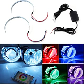 iJDMTOY Bluetooth Wireless Remote Control 15-SMD RGB LED Demon Eye Halo Ring Kit for Headlight Projectors or 2.5 2.8 3.0 Inch Retrofit Projector Lens