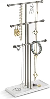 Umbra Trigem Hanging Jewelry Organizer – 3 Tier Table Top Necklace Holder and Display, White/Nickel
