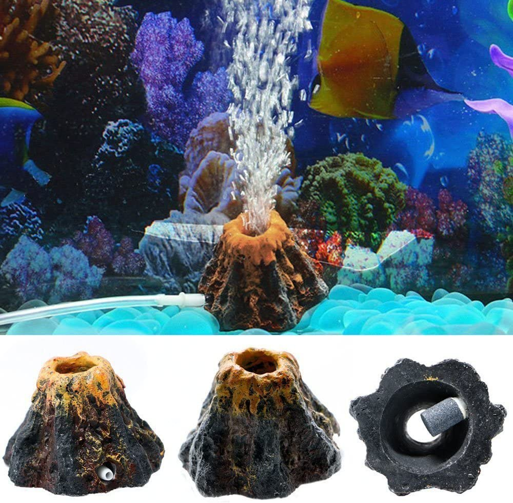 Efanr Cute Shaped Resin Air Bubble Maker Stone Oxygen Pump Fish Tank Ornament Decor Funny Aquarium Landscape Decoration Connect with Air Pump Aerator (Volcano)