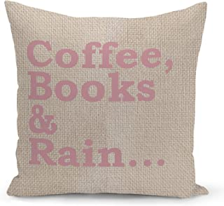 Coffee Books Pillow Beige Linen Pillow with Rose Gold Glitter Foil Print Reading Couch Pillows