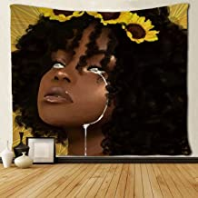 SARA NELL Black Art Tapestry Wall Tapestry Black Girl Afro Girl African American Women Girl Sunflower with Tears Wall Hanging Tapestries Tapestry for Living Room Bedroom Dorm Decor 50x60 Inches