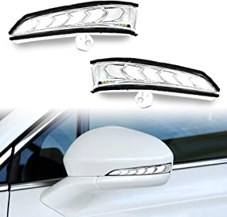 GeeGee LED Amber Rearview Mirror Sequential Turn Signal DRL White Light Parking Puddle Light Lamp Kit For Ford Mondeo Fusion 2013-2018