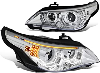 Chrome Housing Dual 3D Crystal LED U-Halo Projector Headlight Lamps for BMW E60 5-Series 08-10 (Halogen Model Only)