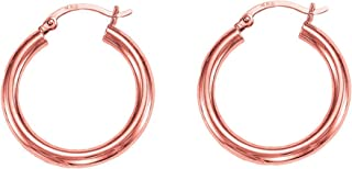 14k Rose Gold Polished Round Tube Hoop Earrings, Diameter 15mm