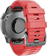 ANCOOL Compatible with Fenix 6X Bands 26MM Easy-fit Soft Silicone Watch Band Replacement for Fenix 6X/Fenix 6X Pro/Fenix 5X/Fenix 5X Plus Smartwatches, Red