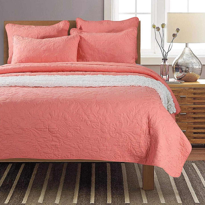 不健全にはまってすりYIYUTING 羽毛布団カバーベッドに3枚寝具3枚アメリカン刺繍キルトキルティングウォッシュシックニングホームカバー (色 : ピンク, サイズ : 230*270CM)