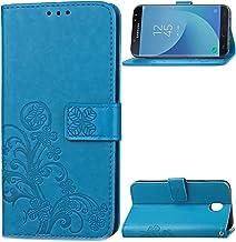 WIWJ Funda para Samsung Galaxy J3 2017 J330 Carcasas Retro Cristal Sparkle Cosiendo PU Cuero Case Silicona TPU Cierre Magn/ético Billetera Soporte Funda 360 Libro Flip Cover-Azul