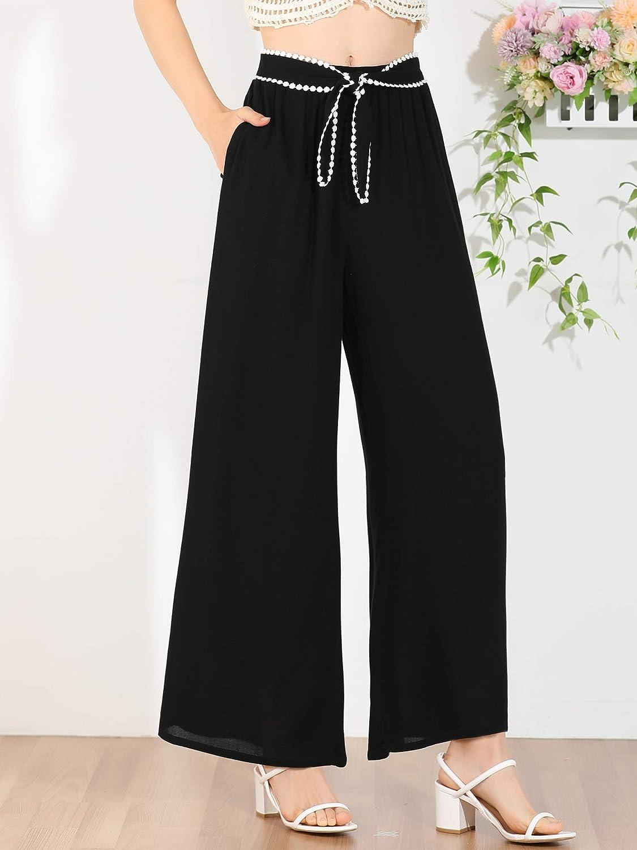 Allegra K Women's Elastic Waist Lace Tie Trousers Casual Wide Leg Long Pants