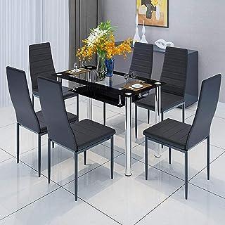 Black 6 sillas de Comedor y Mesa de Vidrio Juego de 6 sillas de Cuero sintético con Respaldo Alto Asiento Suave tapizado para Cocina Mesa Rectangular de Vidrio Templado Pata cromada