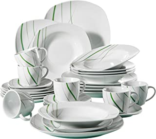 VEWEET 30-Piece Ceramic Dinnerware Set Ivory White Plate Sets Green Stripe Patterns Kitchen Plates, Service for 6 Dinner Plate, Salad Plate (Aviva Series)