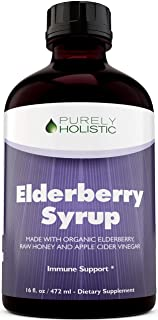 Elderberry Syrup - 50% More 16 fl oz - with Organic Black Sambucus Elderberry, Apple Cider Vinegar, Raw Honey, Propolis & ...