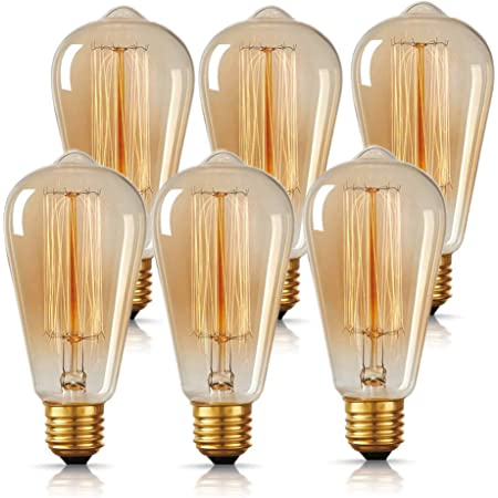 DORESshop ST64 Edison Light Bulbs, Antique 40W Incandescent Vintage Style Light Bulbs, E26 Standard Medium Base, Dimmable Decorative Amber Glass Bulbs, Used for Wall Sconces, Ceiling Light, 6 Pack