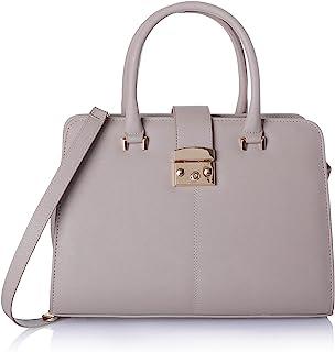 حقيبة جلد صناعي بسوستة ويد علوية وحزام للكتف قابل للفصل للنساء من كلوب الدو - كاكي فاتح