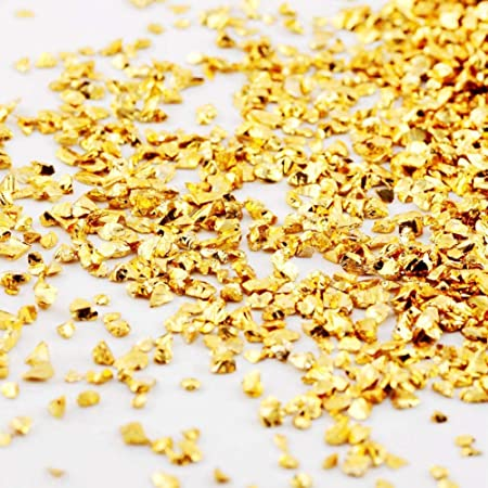 Hioph Crushed Glass Irregular Metallic Chips Sprinkles Chunky Glitter Gold Plated 100g 2-4mm for Nail Arts Craft DIY Vase Filler Epoxy Resin Mold (Gold, 2-4mm)