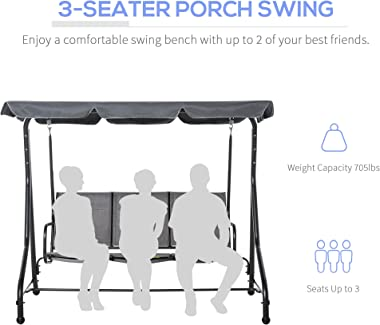 Outsunny 3-Seater Porch Swing Chair Outdoor Patio Bench for Deck with Adjustable Canopy, Padded Sling Fabric Seat