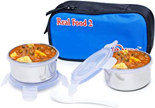 Omiro Executive Lunch Box Real Food 2 for Office, Stainless Steel, 2 Container Set, Blue & Black
