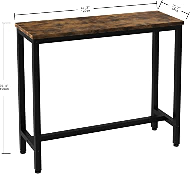 """IRONCK 2-Piece Pub Bar Table Set, (47.2''L 15.7"""" W 39.4"""" H) Industrial High Top Table with Bar Stool Chair, MDF Board and Metal, Brown"""