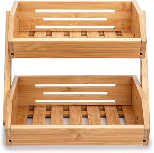 "lowest Fruit Basket for Kitchen, 2-Tier Bamboo lowest Fruit popular Bowl for Kitchen Counter, Kitchen Organization for Vegetables, Bread, Bowl, 12""9""11"" online"