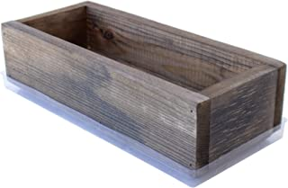 Reclaimed Barnwood Style Planter Box - Rich Brown - Rustic Look - Flower, Herb & House Plant Garden Barn Wood Windowsill Planter with Drip Tray