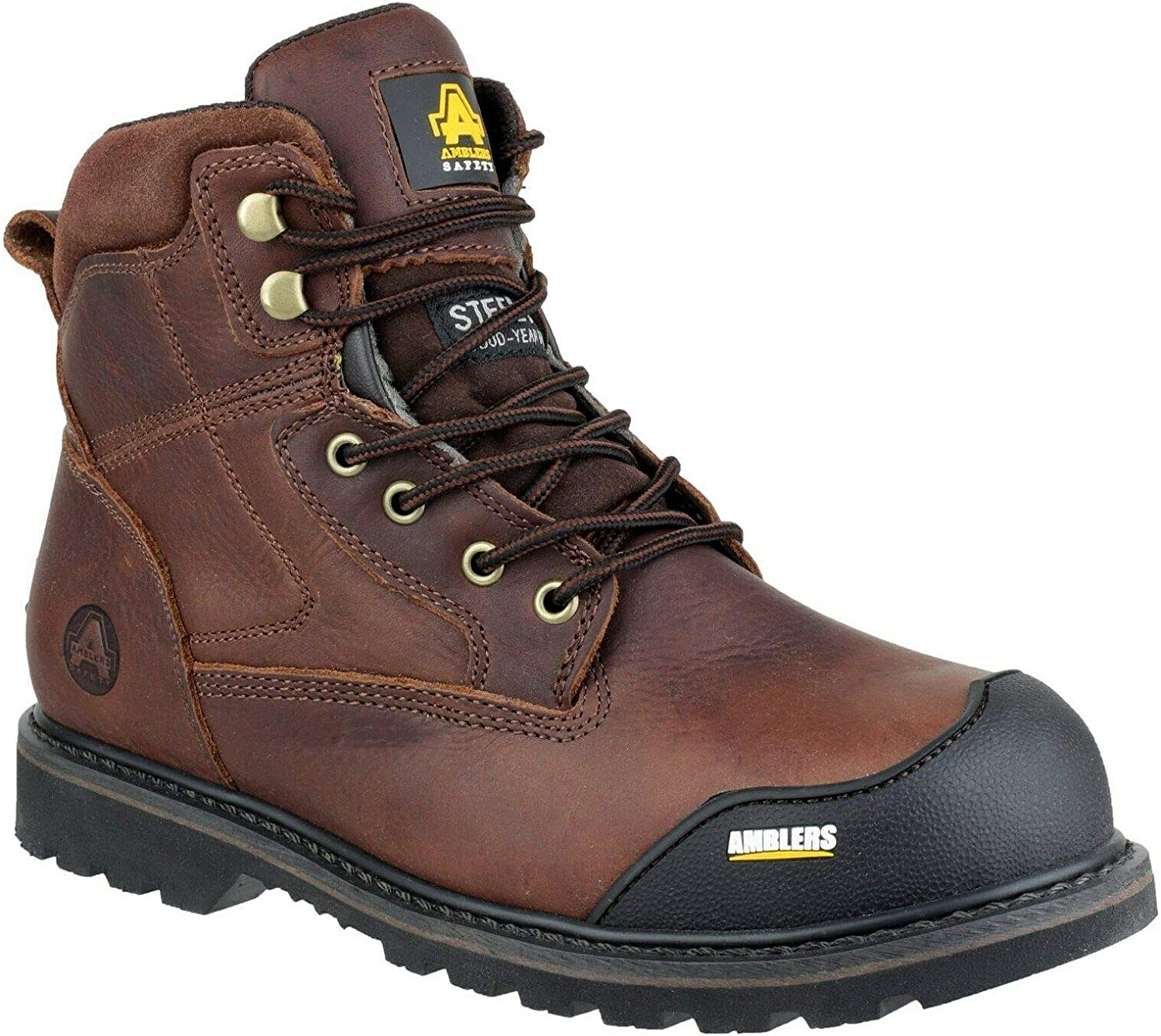 Amblers Safety FS167 Goodyear Welted Safety Work Boots Brown 6-13 Lace up