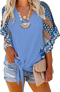Womens Summer Blouses Tie Front V Neck Loose Fit Floral Short Sleeve Shirt