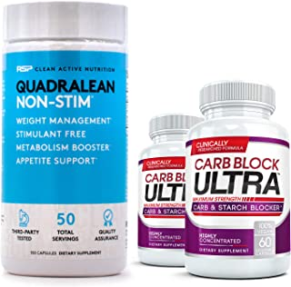 QuadraLean (150 Capsules) & Carb Block Ultra (60 capsules)(2 Bottles) - The Ultimate Fat Burning / Weight Loss Package. Do...