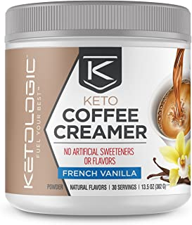 Ketologic Keto Coffee Creamer with MCT Oil Powder, French Vanilla | for Sustained Energy & Appetite Control | Low-Carb, Pa...
