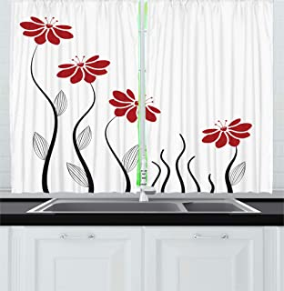 Best red floral curtains Reviews