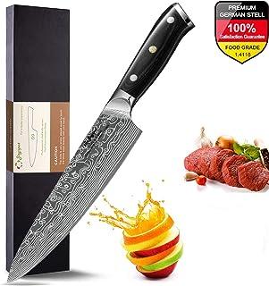 Joyspot Cuchillos Cocina, Patrón de Damasco Cuchillo Cocina Profesionales 20 cm, 8 Pulgadas Cuchillo de Cocinero de Acero Inoxidable Alemán, Hoja Durable y Afilada para Verduras, Frutas y Carne …