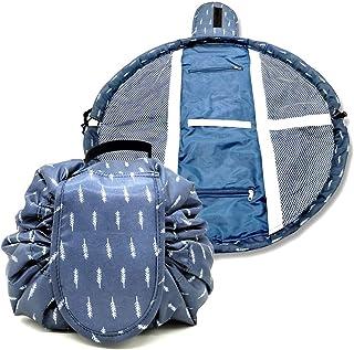Duwee Multifunction Travel Makeup Bag Waterproof Cosmetic Organizer Drawstring Makeup Storage Bag Women Girls Portable Toiletry Bags (Blue Feather)