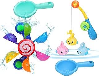 BBLIKE Baby Bath Time Fun Toys, Kids Bath Toys Tub Windmill Waterwheel + 2 Pcs Spoon + 4 Pcs Fishing Play Water Toy Set for Swimming Pool/ Bathtub, for Toddlers Boys Age 2-5 Year