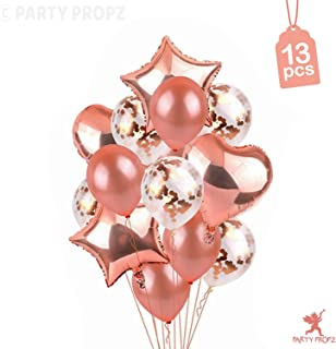 Party Propz 13Pcs Rose Gold Balloons Combo For Eid and Ramadan Decorations
