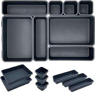 ETOILE Lot de 8 Organisateur Tiroir Bureau Cuisine Plateaux Rangement de Tiroir Séparateurs de Tiroir en Plastique Très Pr...