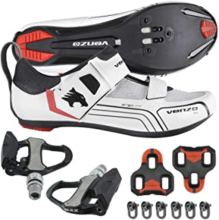 Venzo Cycling Bicycle Bike Triathlon Shoes with Pedals Compatible with Shimano SPD SL Look White