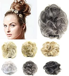 Scrunchy Scrunchie Bun Up Do Hairpiece Hair Ribbon Ponytail Extensions Wavy Curly or Messy Color Variation #Dimgray