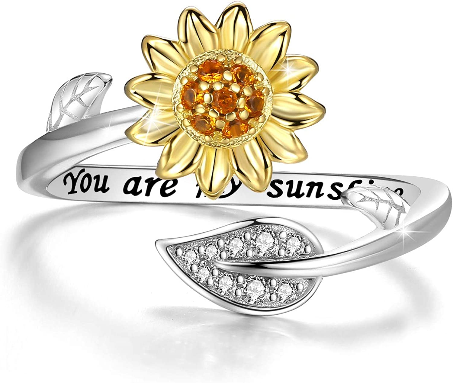 DIOFRG Engraved National products You are My Sunshine Ring 14K Gold Philadelphia Mall Plat Sunflower