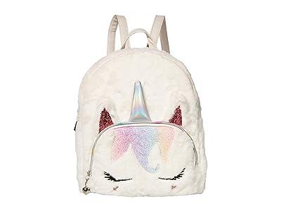 OMG! Accessories Sugar Glitter Plush Mini Backpack (White) Backpack Bags