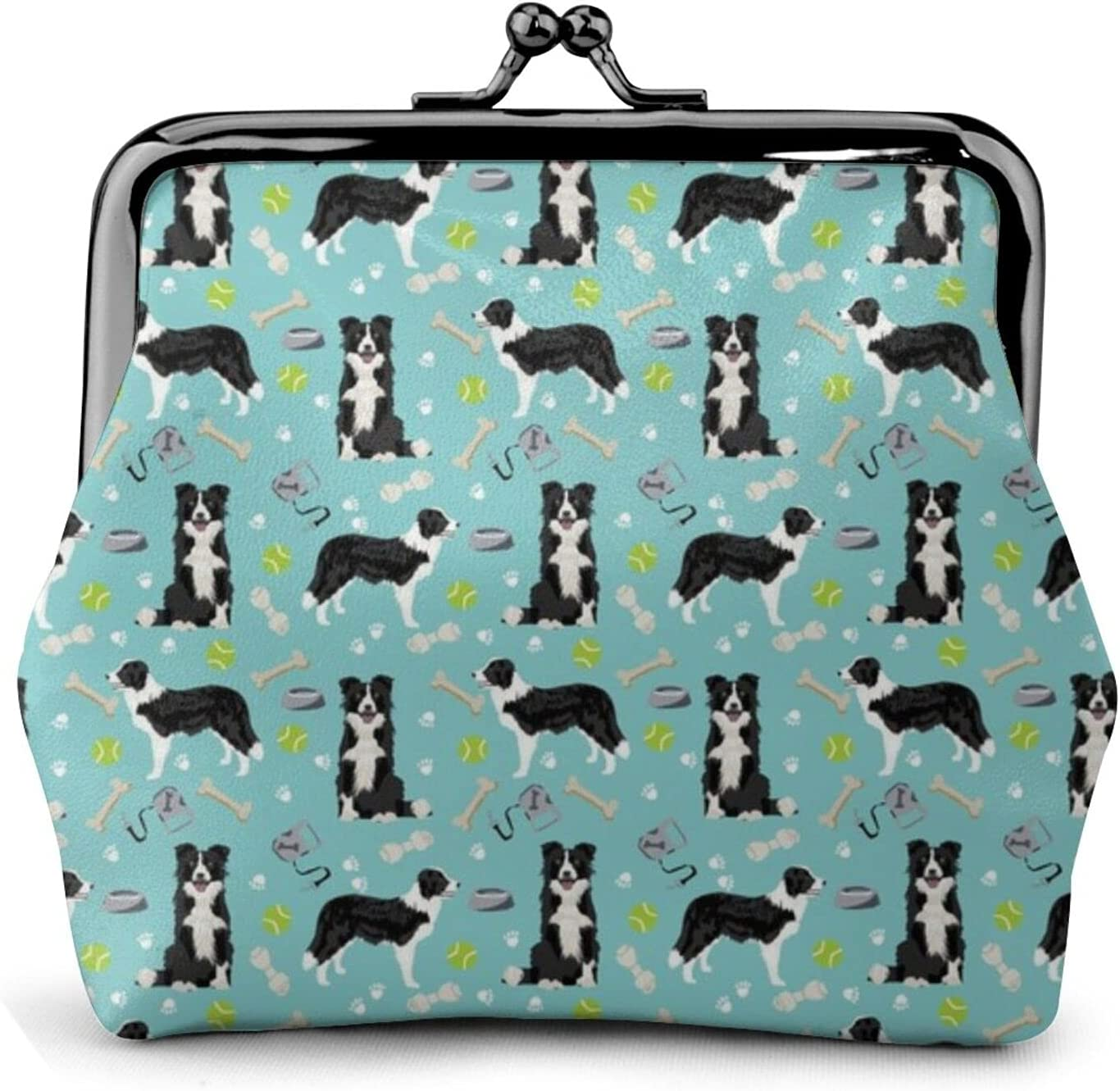 Border Collie Toys 843 Coin Purse Retro Money Pouch with Kiss-lock Buckle Small Wallet for Women and Girls