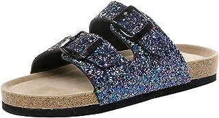 Loosebee◕‿◕ Women's Comfort Buckled Slip on Sandal Casual Cork Platform Sandal Flat Open Toe Slide Shoe