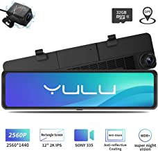 """$155 » Mirror Dash Cam Car Backup Camera 12"""" 2K IPS Full Touch Anti-Glare Screen 2560P+1080P Resolution Front and Rear View Dual Lens, Adjustable Wide Angle, WDR Night Vision, Parking Monitor, GPS, 32GB Card"""