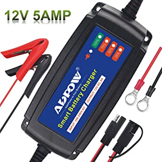 ADPOW Upgrade Automatic Battery Charger Maintainer 12V 5A 5-Stages Portable Smart Deep Cycle Trickle Charger for Car Motorcycle Boat Lawn Mower RV SLA ATV AGM GEL CELL WET & FLOODED Lead Acid Battery