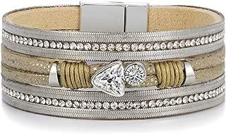 Multilayer Leather Bracelets for Women Trendy Rhinestone Crystal Charm Wide Bracelets & Bangles Female Jewelry