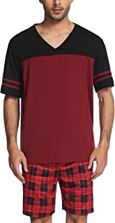 Sponsored Ad - Luxilooks Mens Pajama Shorts Set Short Sleeve Tops Shorts 2 Piece Sleep Set V Neck Summer Pjs Comfy Lounge ...