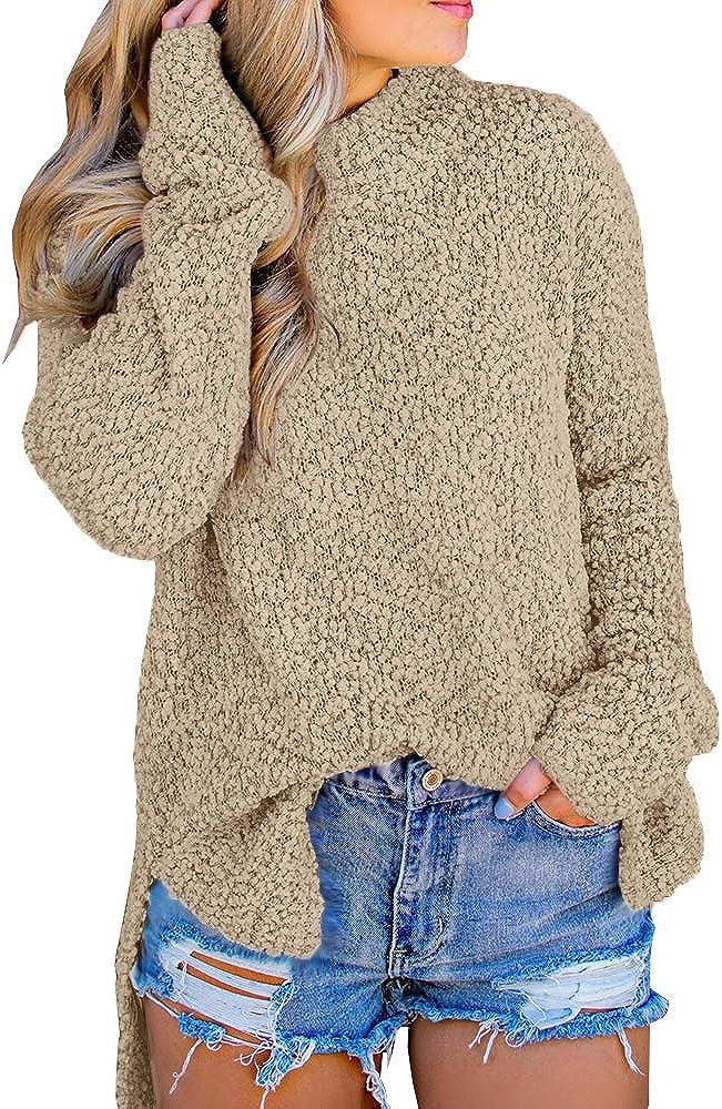 Imily Bela Womens Fuzzy Knitted Sweater Sherpa Fleece Side Slit Full Sleeve Jumper Outwears