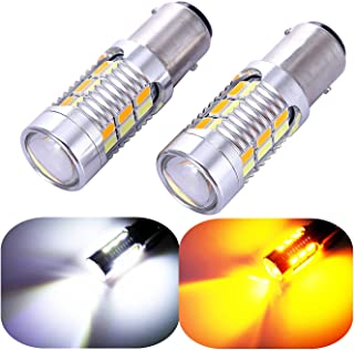 1157 2057 2357 7528 Turn Signal White Yellow Switchback Led Light Bulbs 22 SMD with Projector, for Standard Socket, Not CK, Pair of 2
