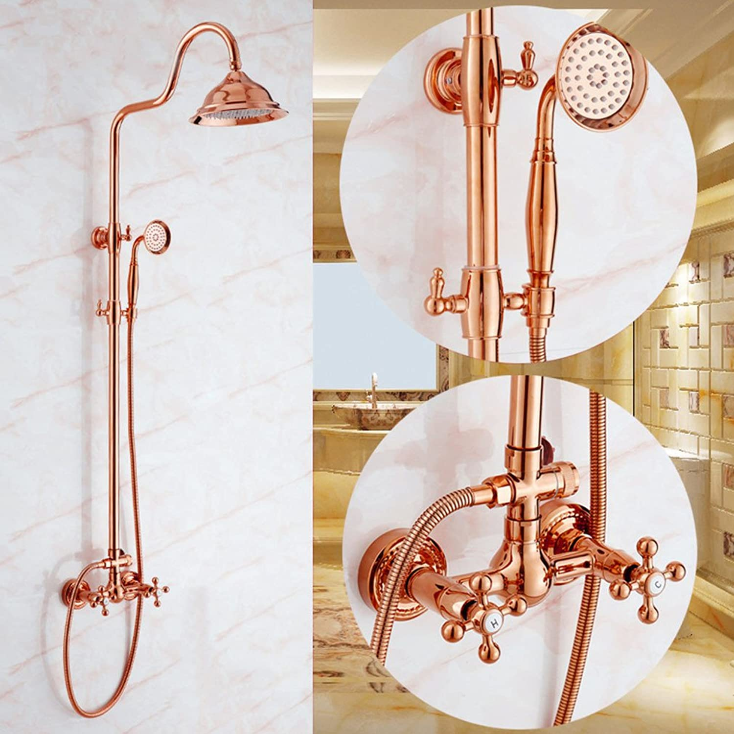 AiRobin-Continental Luxury gold Brass Shower System Ceramic Valve,pink gold
