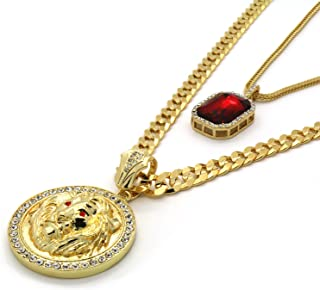 L & L Nation Gold Tone Red Eyes Lion Pendant 30